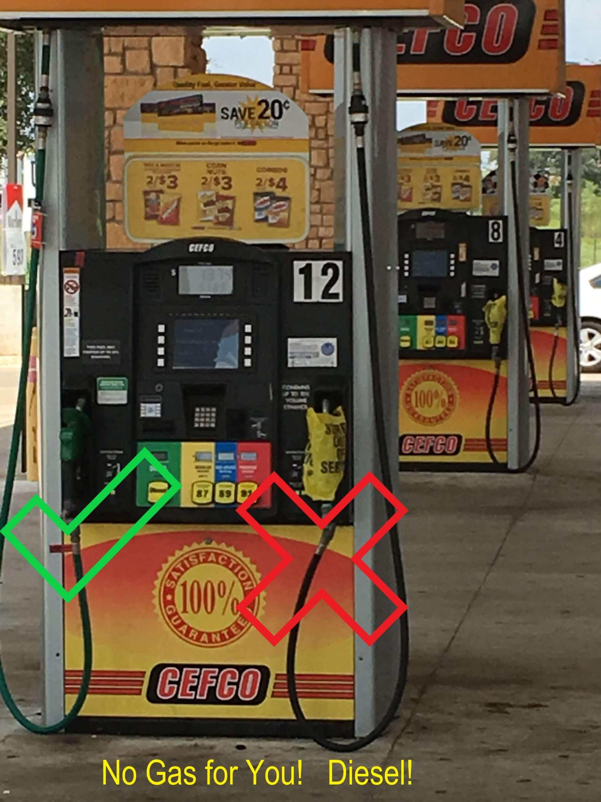 Photo of fuel pump empty of no-lead gasoline.